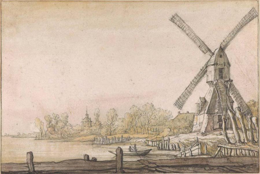 2 Альберт Кейп Река с мельницей 1640