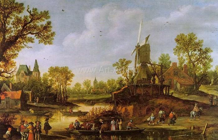 2 Голландская живопись Ян ван Гойен 1625 Пейзаж Река