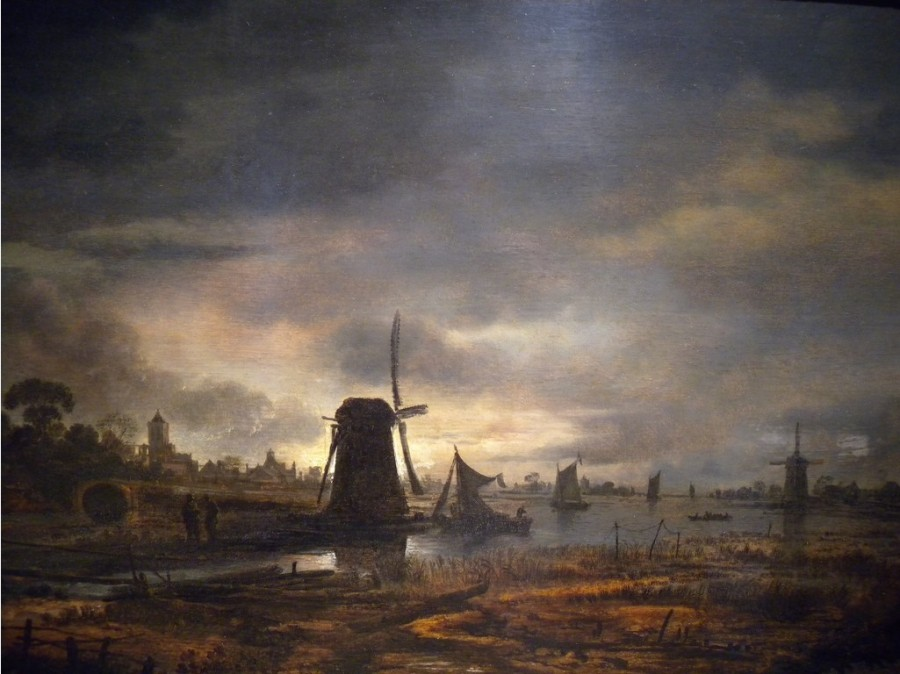 4 Арт ван дер Неер Moonlit Canal with a Windmill, -17th century- Aert van der Neer