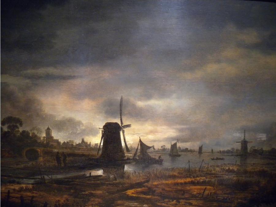 4 Арт ван дер Неер Moonlit Canal with a Windmill, -17th century- Aert van der Neer