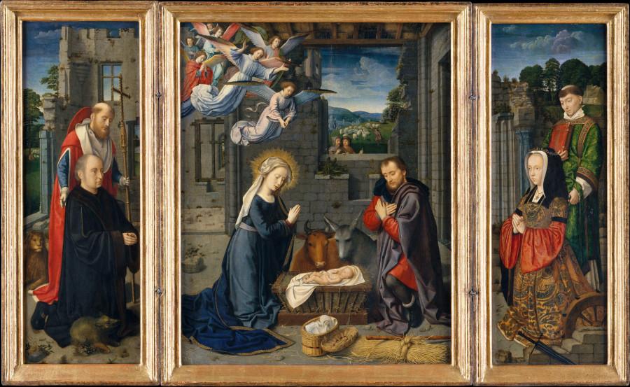 12 Герард Давид 1510-15 Рождество с донатрами и святым Иеронимом и Леонардом