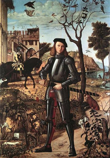 30 молодой рыцарь на фоне пейзажа витторе карпаччо 1510