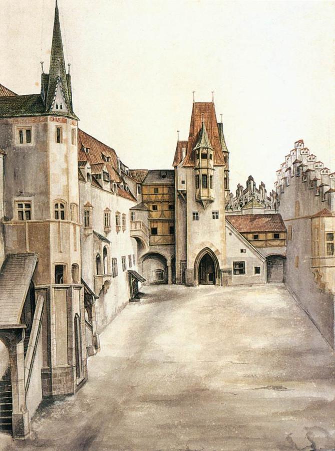 Двор замка в Инсбрук. Безоблачно