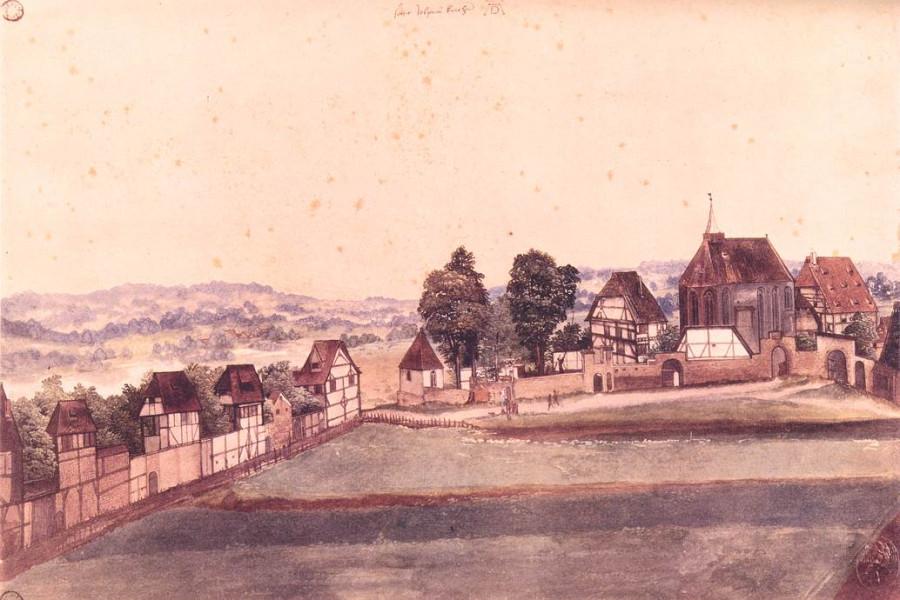 Церковь и кладбище святого Иоанна. Нюренберг 1594