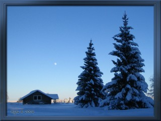 Moon over cottage