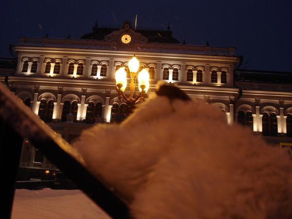 Шуша смотрит на здание