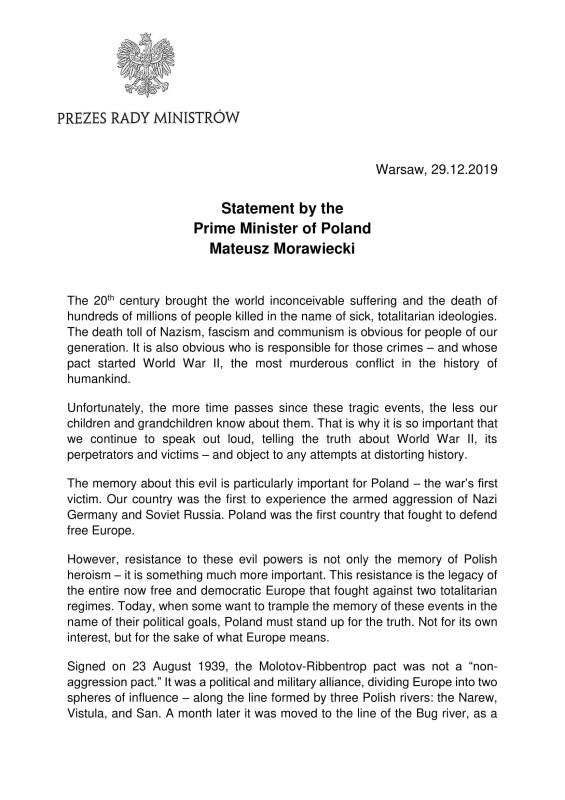 «Президент Путин лгал». Заявление премьер-министра Польши Матеуша Моравецкого
