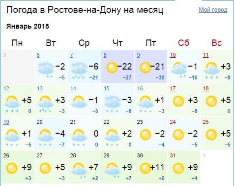 Погода в январе в Ростове