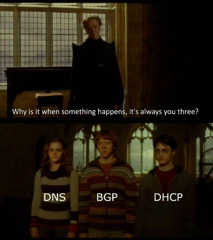 """""""— Скажите, почему, когда что-нибудь происходит, вы трое всегда оказываетесь рядом?"""" Гарри Поттер и Принц-Полукровка (© WB Pictures, 2009). Внизу название сервисов и протоколов, которые довольно часто падают при крупных авариях. Расшифровка в посте."""