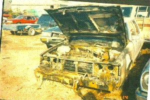 Взорванный автомобиль Болонкина