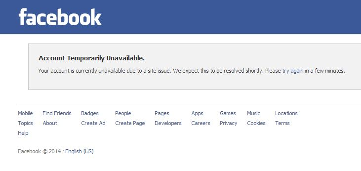 Facebook Account Temporarily Unavailable