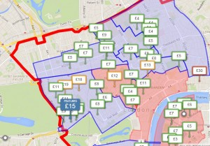 Цены за парковку в Лондоне (за час, 9 октября, с 12 до 13)
