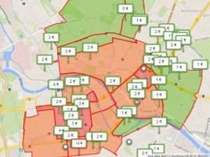 Цены за парковку в Берлине (за час, 9 октября, с 12 до 13)