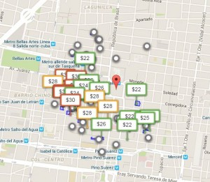 Цены за парковку в Мехико (за час, 9 октября, с 12 до 13)