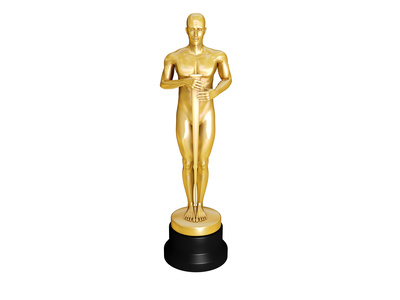 Gold Oscar over white