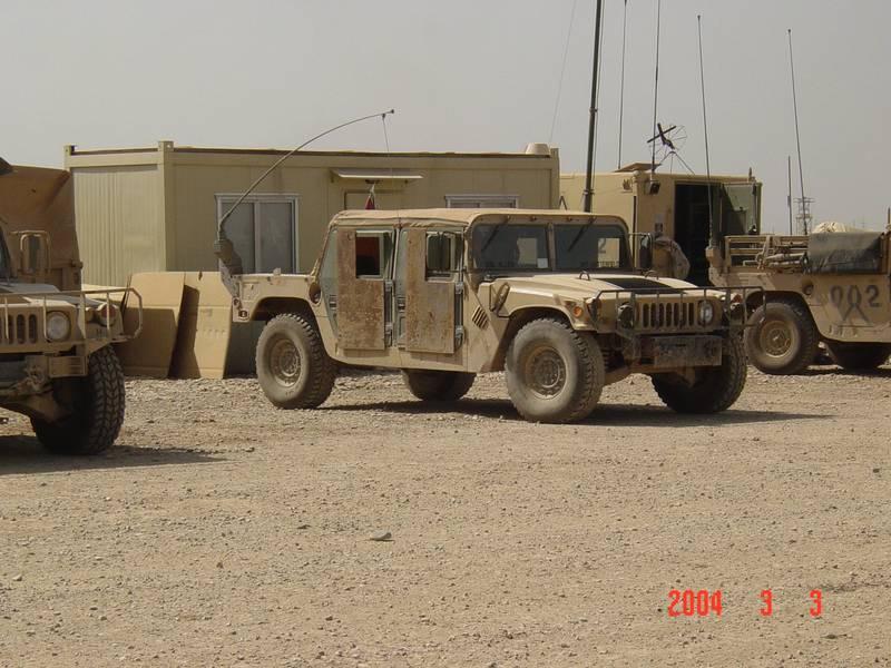 Humvee with hillbilly armor