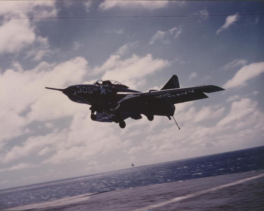 F9F-8BCougaraircraftofVA-113landingonUSSEssexCVA-91956_zps0d324b01