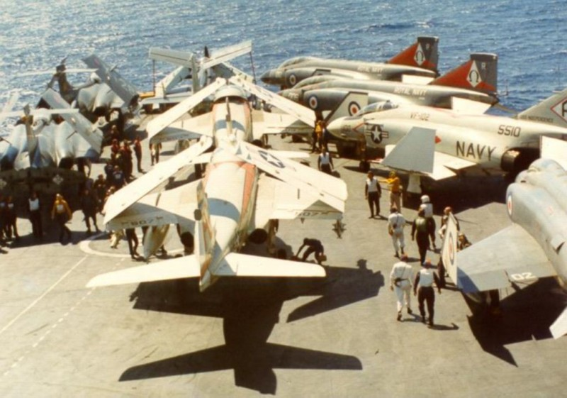 USN F4_s _amp_ Intruders from Independence in Ark fly 1