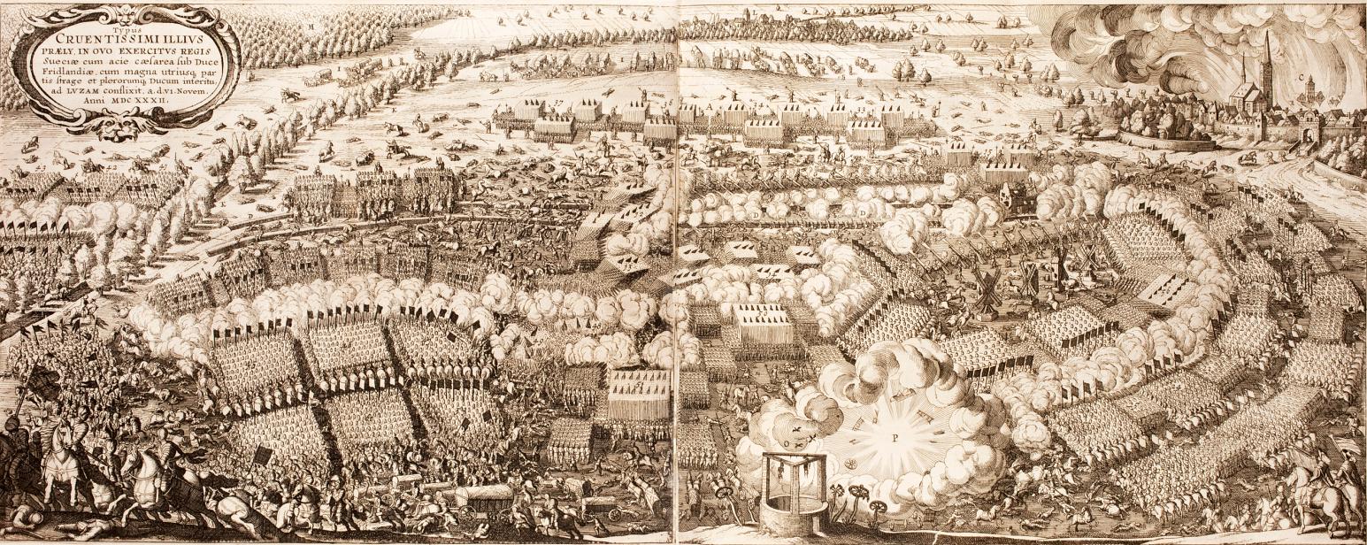 The battle of Lützen. Cornelis Danckerts - Historis oft waerachtich verhael, 1632. Engraving by Matthäus Merian