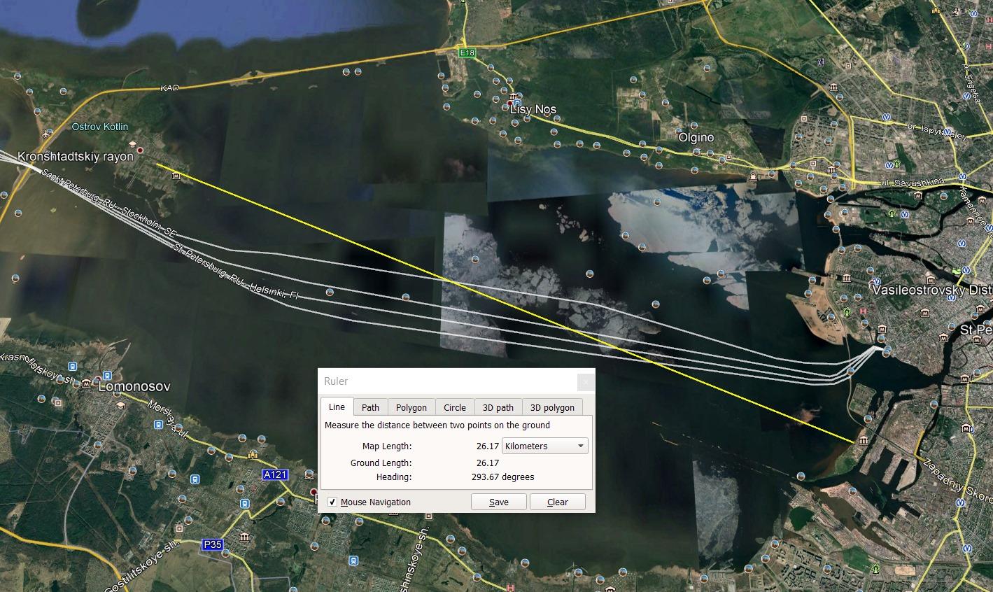 Определение точки съёмки в программе Google Earth