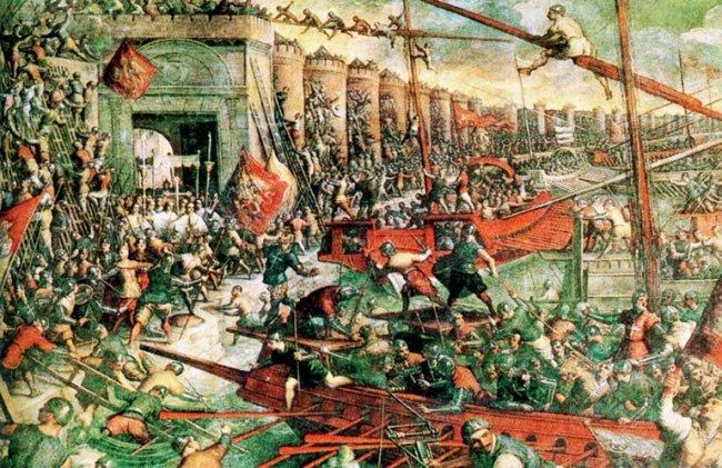 Штурм крестоносцами стен Константинополя в 1204 году-Картина Якопо Тинторетто-XVI век
