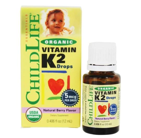 ChildLife, Органический витамин K2 в каплях с натуральным ягодным вкусом
