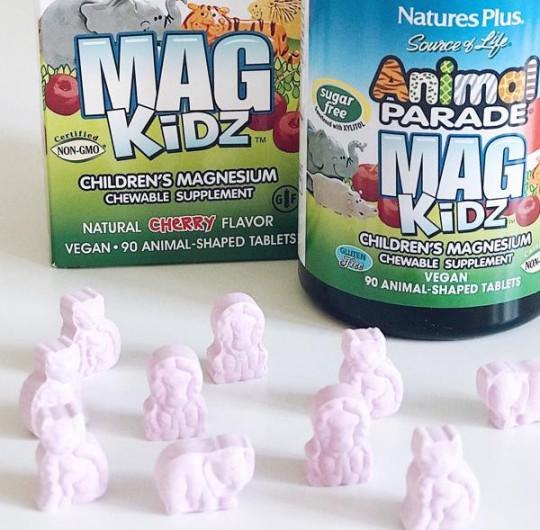 Nature's Plus, Animal Parade, MagKidz, магний для детей, натуральный вишневый вкус, 90 таблеток