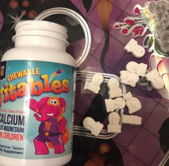 Vitables, Жевательный кальций с магнием для детей, вкус Именинный торт, 90 таблеток
