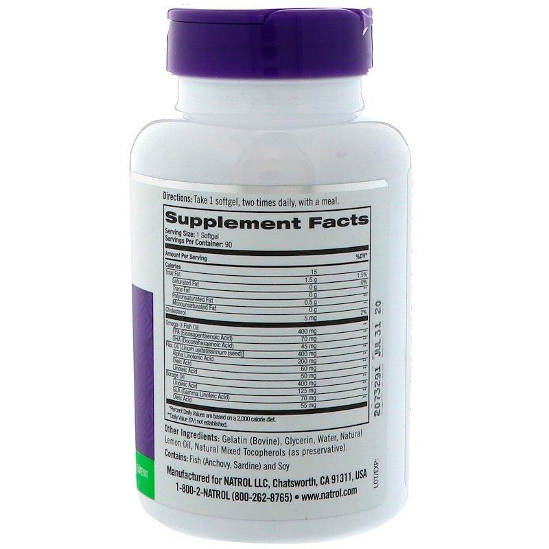 Natrol, Рыбий жир омега-3, натуральный лимонный вкус, 1000 мг