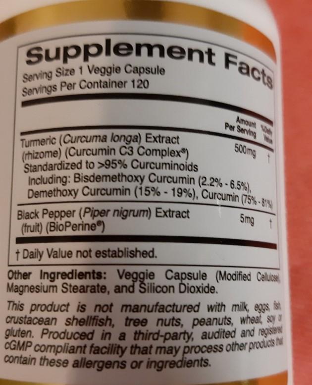 Отзывы California Gold Nutrition Curcumin C3 Complex BioPerine