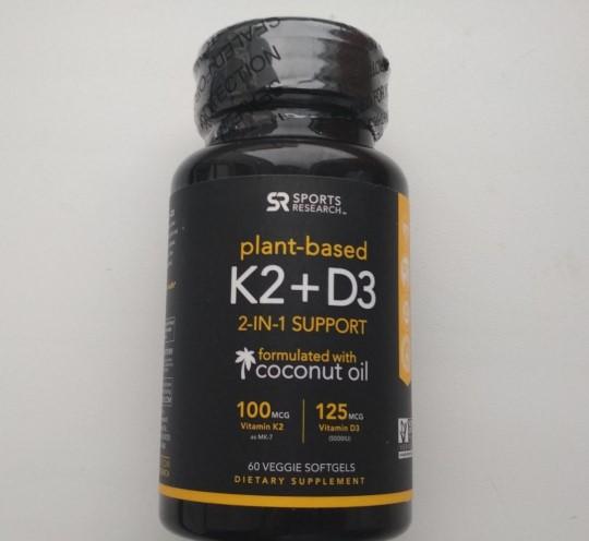 Отзыв БАД Sports Research Витамин K2 + D3, 100 мкг/125 мкг 60 таблеток. Обзор биодобавки из США