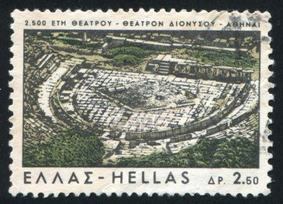 14721064-greece--circa-1966-stamp-printed-by-greece-shows-old-theater-of-dionysus-athens-circa-1966