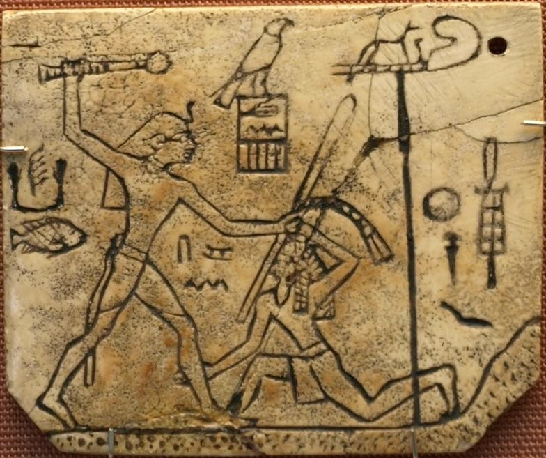 Ivory_label_depicting_the_pharaoh_Den__found_at_his_tomb_in_Abydos__c_3000_BC__British_Museum