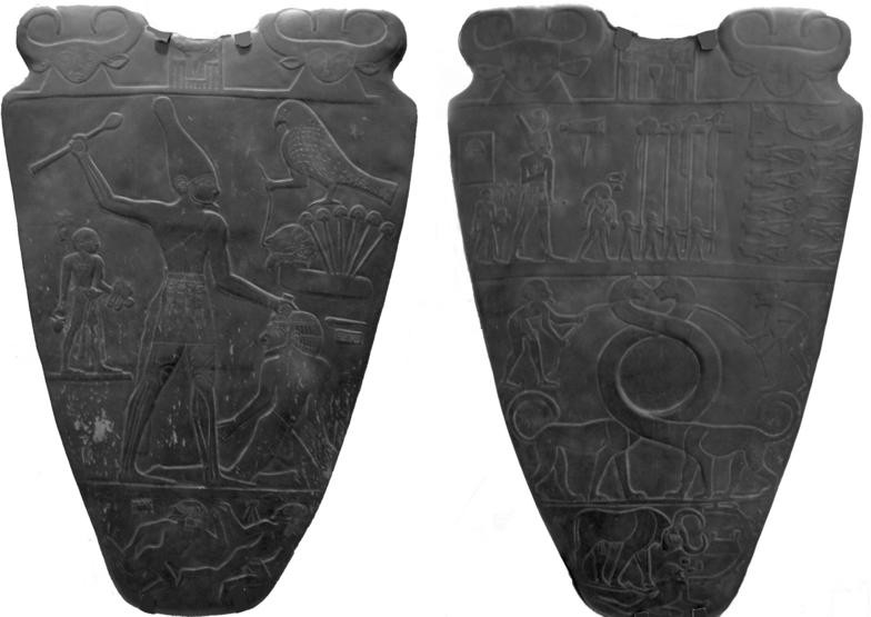 Narmer_Palette_facsimilie_on_display_at_Royal_Ontario_Museum_in_Toronto_from_an_original_in_Cairo_Museum__c_3100BC