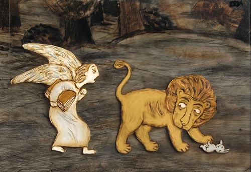 ангел и лев на поляне