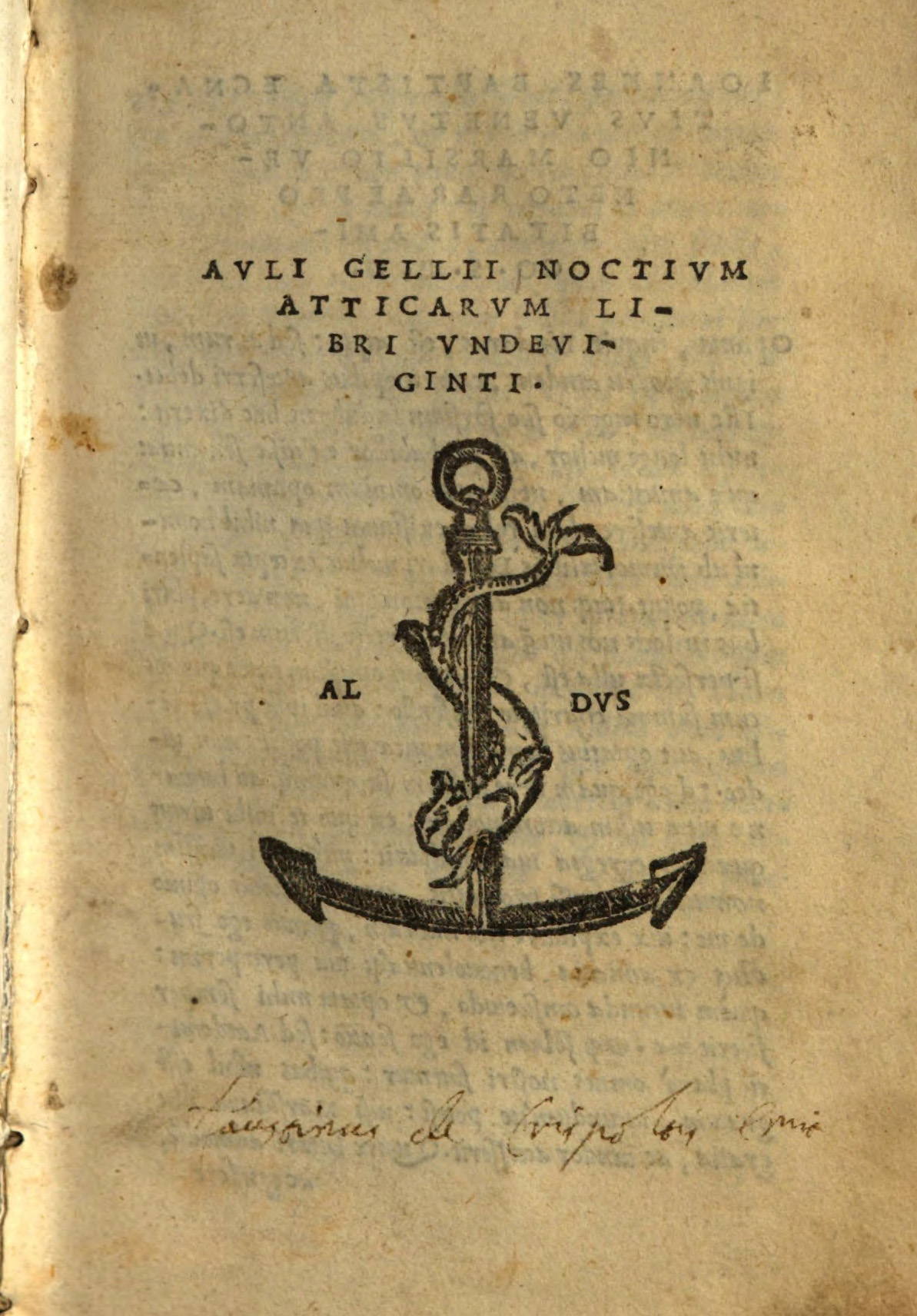 Титул Авл Геллия. Аттические ночи. Издания 1515