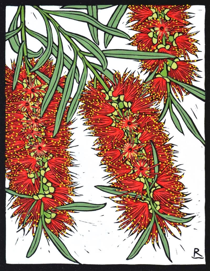 bottle-brush-flower-linocut-rachel-newling