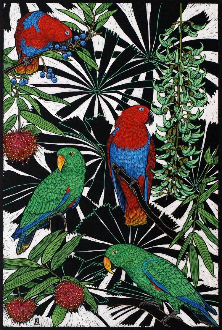 eclectus-parrot-linocut-rachel-newling