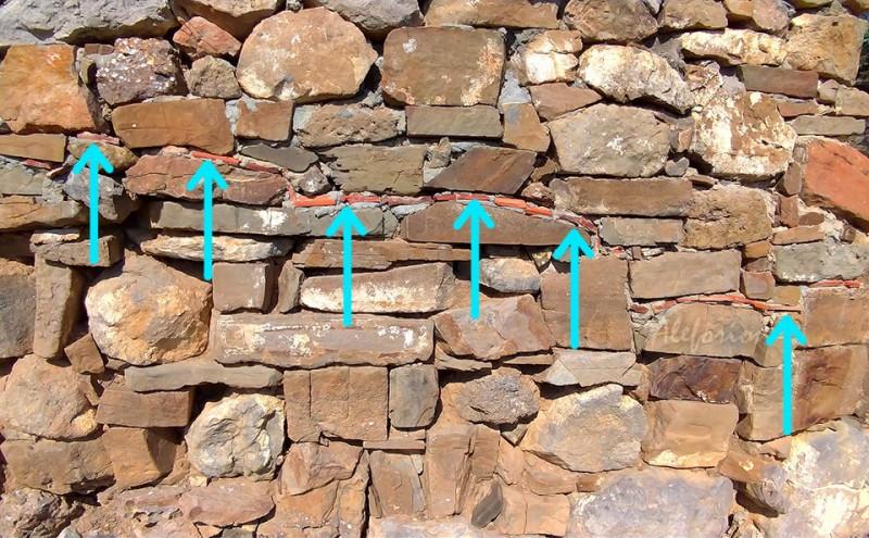 Граница высоты стен, какими их нашли археологи, отмечена обломками красной черепицы.