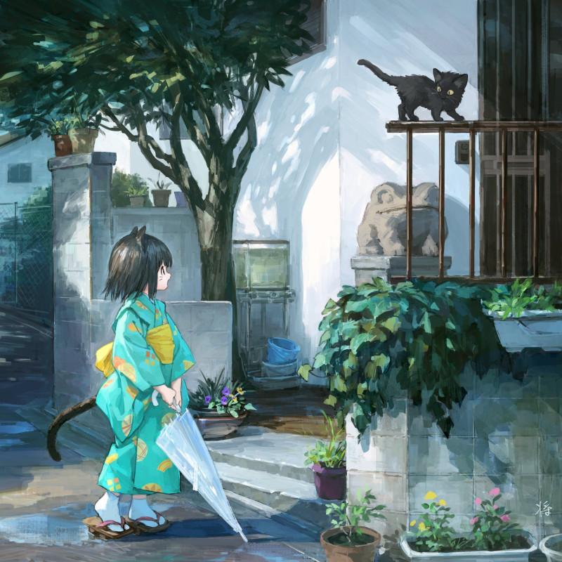 Картинки - УиХ. Маленькая кошкодевочка в кимоно с зонтом и котенок - 雨上がりの猫 - sho (sho lwlw) (pixiv 30551748) 3408339-danbooru, twitter.com, О --6396d3e28ea534049369029200aee4b9