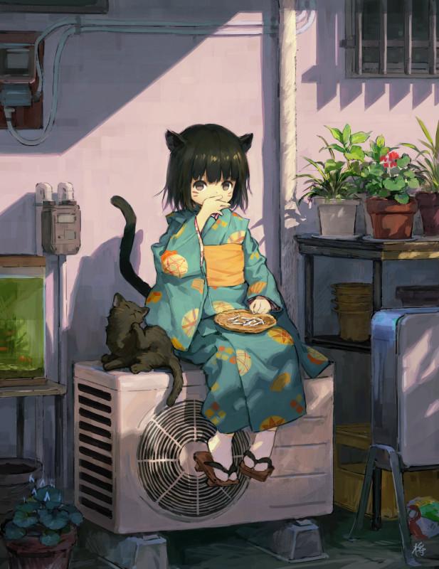 Картинки - УиХ. Маленькая кошкодевочка в кимоно и котенок. Сидит на кондиционере - sho (sho lwlw) (pixiv 30551748) 3179619-danbooru, (tumblr.com), md5_mismatch, О --c7299e48aa3405e3f57a828fb9f5886c