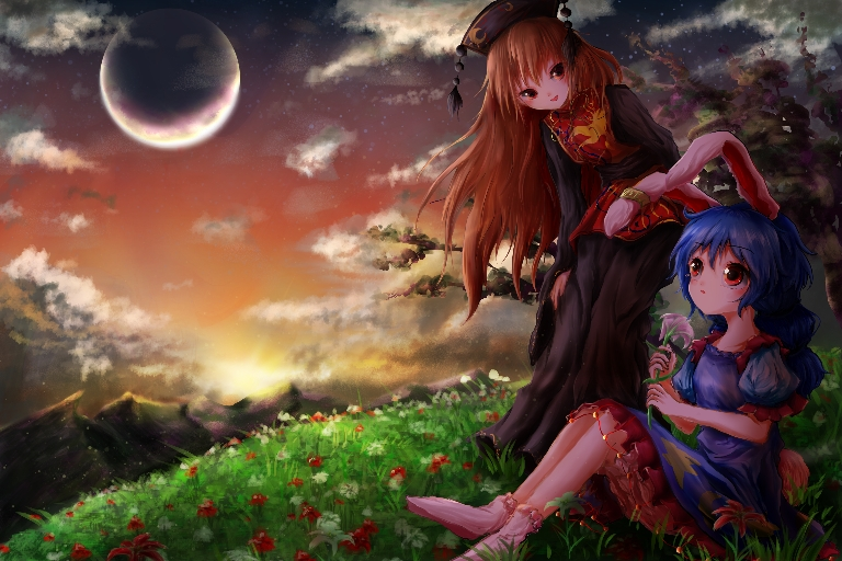 Картинки - Touhou. УиХ. Сейран и Джунко. Луг с цветами, горы, небо - kayon (touzoku) (pixiv 3263508) 3457343-danbooru, 73875214-0-pixiv, О --8f92209d2a39b6d128f8b3a6cd5d16f5