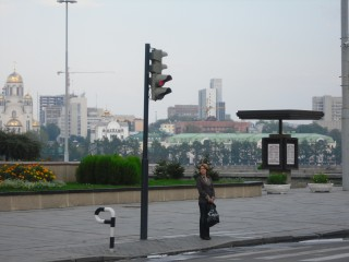 Ekaterinburg, A woman in ulitsa Borisa Yeltsina, near The Academic Drama Theatre, 2010