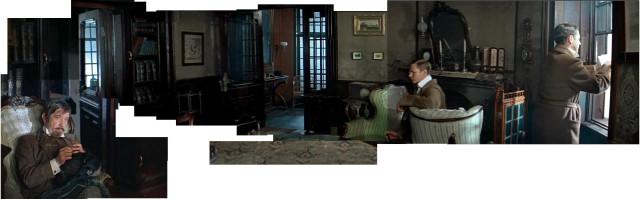 interior panorama of the sitting-room at 221b Baker Street -- Lenfilm studio's Sherlock Holmes series