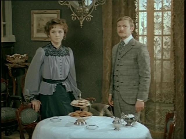 "Irina Kupchenko as Beryl Stapleton and Vitaly Solomin as Doctor Watson in film ""Hound of the Baskervilles"" (USSR, LenFilm studio, 1981)"