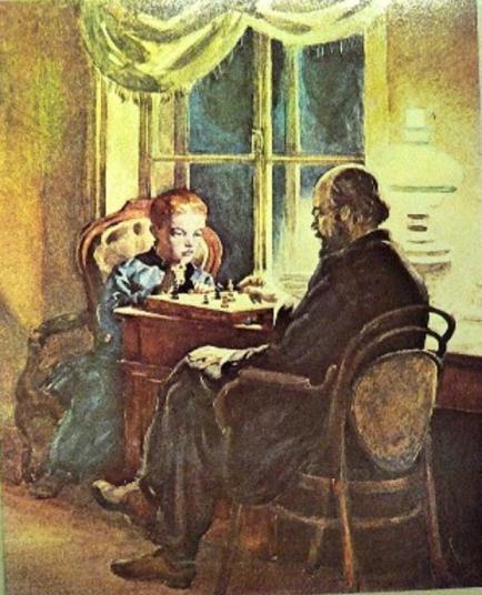 Хайкин Д.С. Володя Ульянов играет в шахматы с отцом в его кабинете, 1952 г.