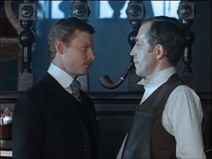 Vitaly Solomin as Doctor Watson and Vasily Livanov as Sherlock Holmes