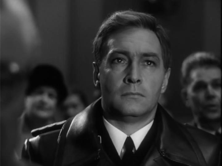 Vyacheslav Tikhonov as Stirlitz in b/w TV spy-saga