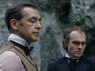 Vasily Livanov as Sherlock Holmes, Victor Evgrafov as Professor Moriarty