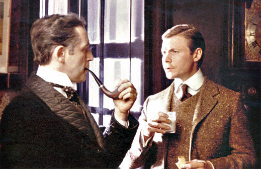 Vasily Livanov as Sherlock Holmes and Vitaly Solomin as Doctor Watson in Soviet TV adaptation (directed by Igor Maslennikov, LenFilm studio, USSR, 1979)